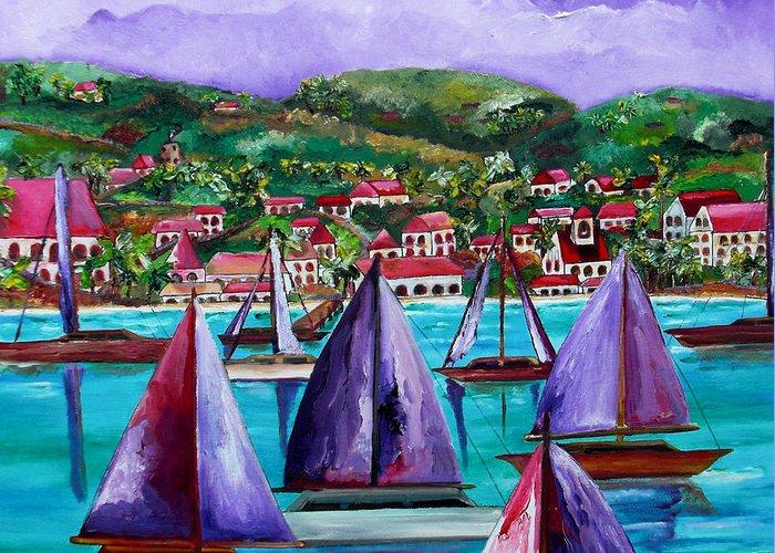 Usvi Greeting Card featuring the painting Purple Skies Over St. John by Patti Schermerhorn