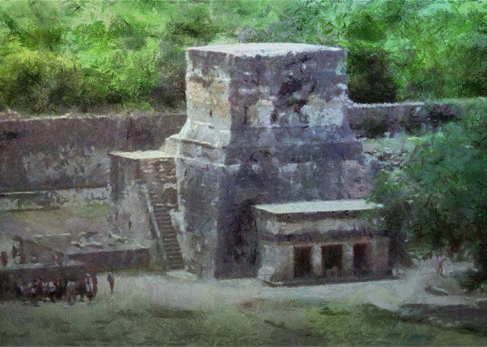 Yucatan Greeting Card featuring the painting Pyramid View by Jeff Kolker