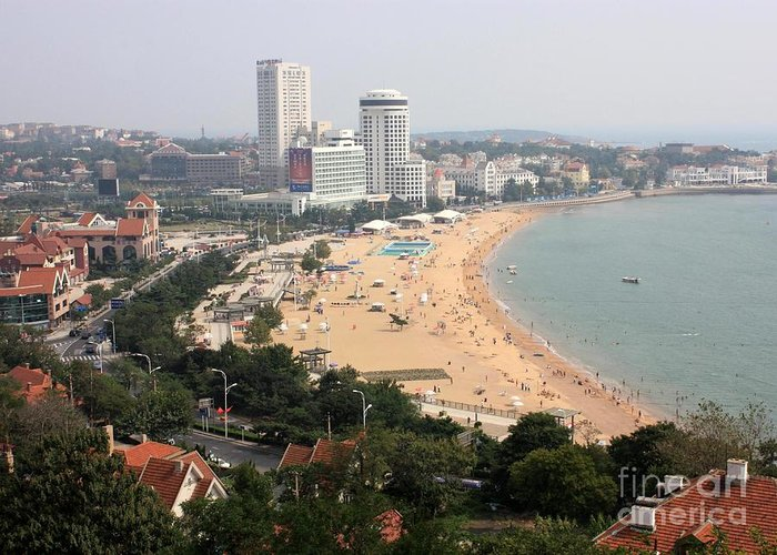Cities Greeting Card featuring the photograph Qingdao Beach With Skyline by Carol Groenen