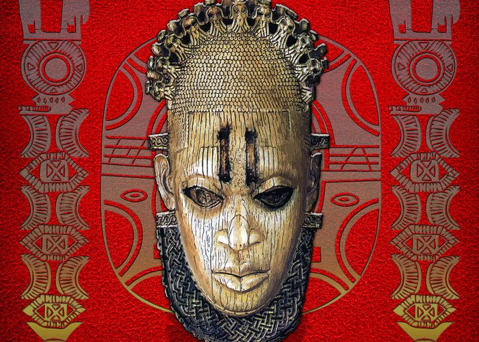 C7 Ethnic Arts Africa Greeting Card featuring the digital art Queen Mother Idia - Ivory Hip Pendant Mask - Nigeria - Edo Peoples - Court Of Benin On Red Leather by Serge Averbukh