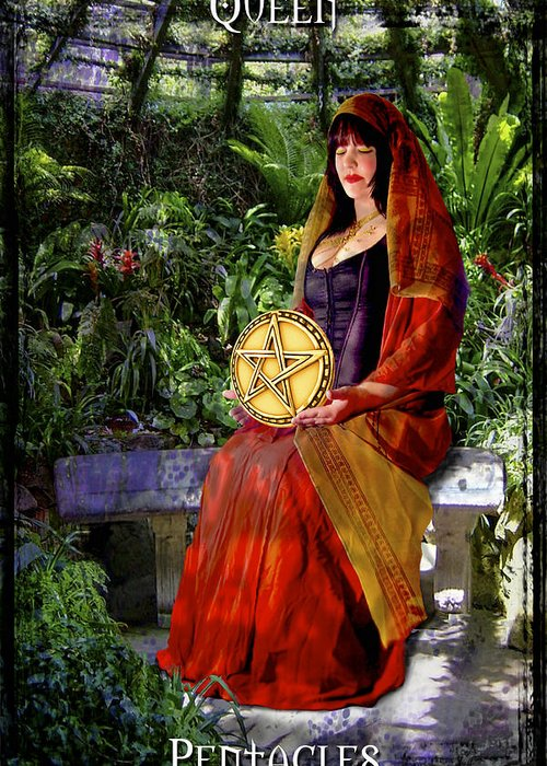 Divine Greeting Card featuring the digital art Queen Of Pentacles by Tammy Wetzel