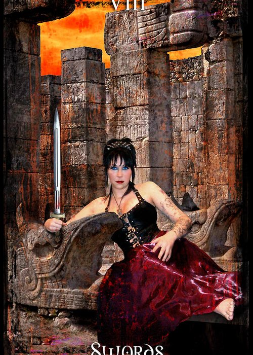 Divine Greeting Card featuring the digital art queen of Swords by Tammy Wetzel