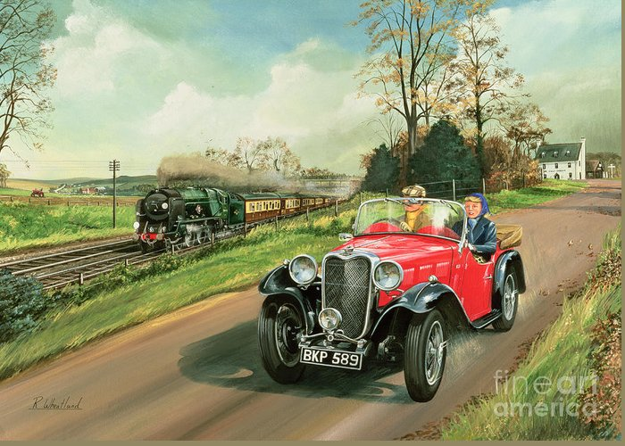 Car Greeting Card featuring the painting Racing The Train by Richard Wheatland