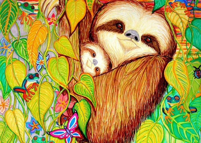 Mother And Baby Sloth Greeting Card featuring the drawing Rain Forest Survival Mother And Baby Three Toed Sloth by Nick Gustafson