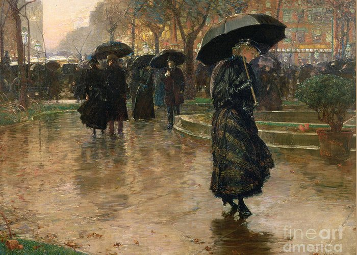Rain Storm Greeting Card featuring the painting Rain Storm Union Square by Childe Hassam