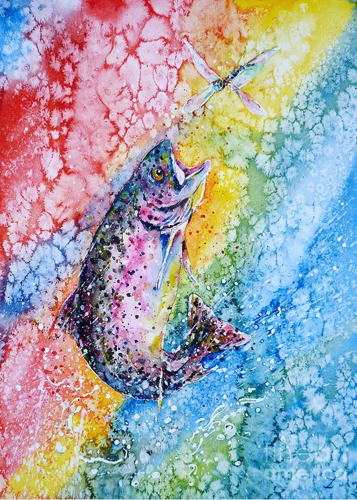 Trout Greeting Card featuring the painting Rainbow Hunter by Zaira Dzhaubaeva