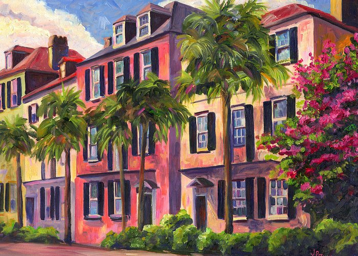 Rainbow Row Greeting Card featuring the painting Rainbow Row Charleston Sc by Jeff Pittman