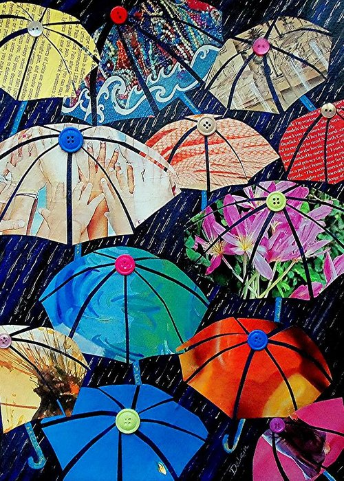 Sue Delain Greeting Card featuring the painting Rainy Day Personalities by Susan DeLain