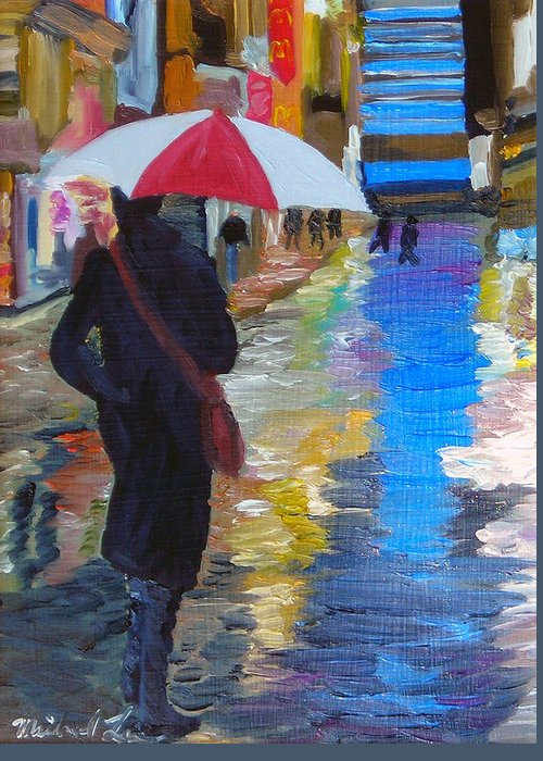 Umbrella Greeting Card featuring the painting Rainy New York by Michael Lee