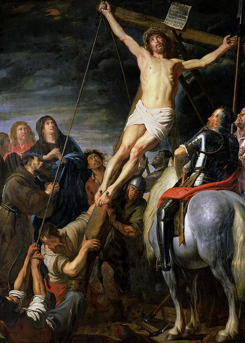 Raising Greeting Card featuring the painting Raising The Cross by Gaspar de Crayer