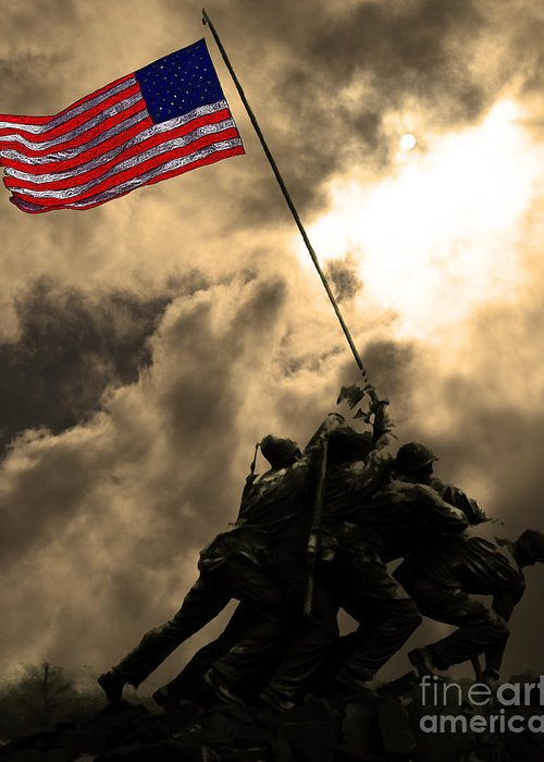 Iwo Jima Greeting Card featuring the photograph Raising The Flag At Iwo Jima 20130211 by Wingsdomain Art and Photography