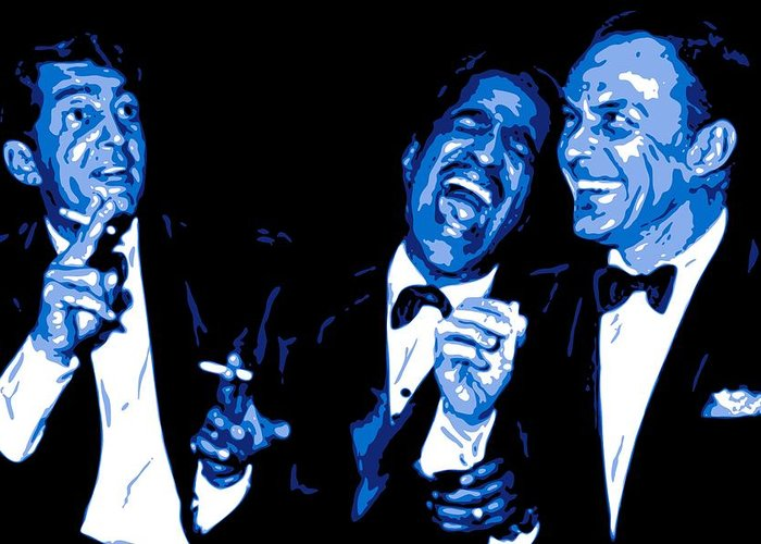 Frank Sinatra Greeting Card featuring the digital art Rat Pack At Carnegie Hall by DB Artist