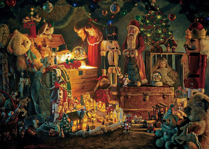 Santa Claus Greeting Card featuring the painting Reason For The Season by Greg Olsen