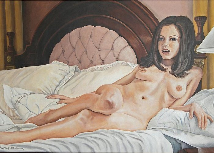Nude Greeting Card featuring the painting Reclining Nude by Kenneth Kelsoe