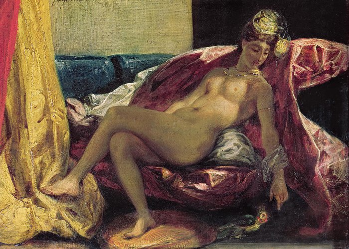 Reclining Greeting Card featuring the painting Reclining Odalisque by Ferdinand Victor Eugene Delacroix