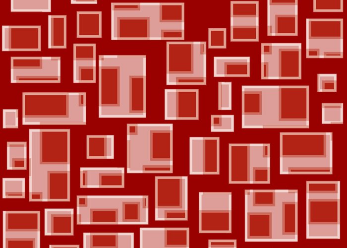 Geometric Abstract Greeting Card featuring the painting Red Abstract Rectangles by Frank Tschakert