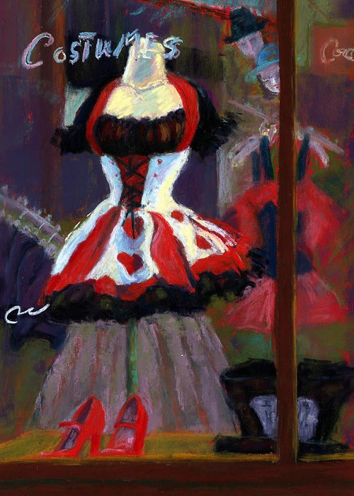 Red Black White Jester Costume Mardi Gras Holloween Ritz Exotic Night Store Window Greeting Card featuring the painting Red And Black Jester Costume by Cheryl Whitehall
