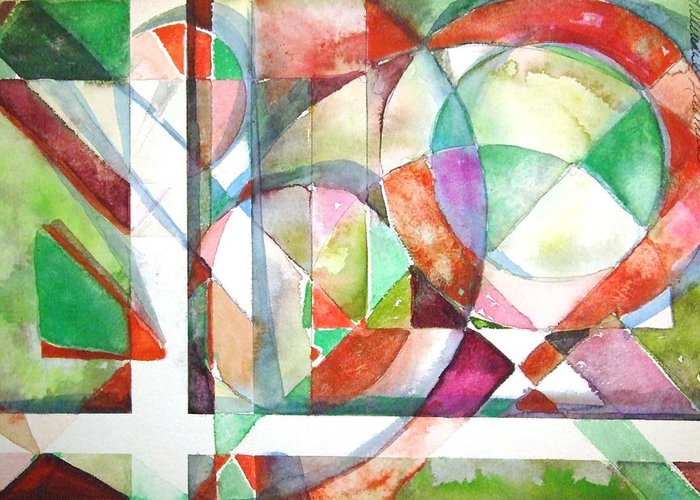 Geometric Greeting Card featuring the painting Red And Green by Mindy Newman