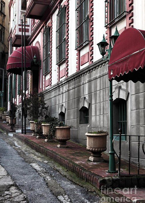 Red Awning Greeting Card featuring the photograph Red Awning by John Rizzuto