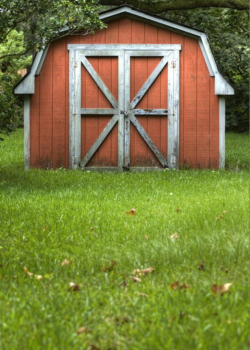 Barn Door Red Lock Green White Cross Dustin Ryan Charleston South Carolina Colorful British Flag Greeting Card featuring the photograph Red Barn by Dustin K Ryan