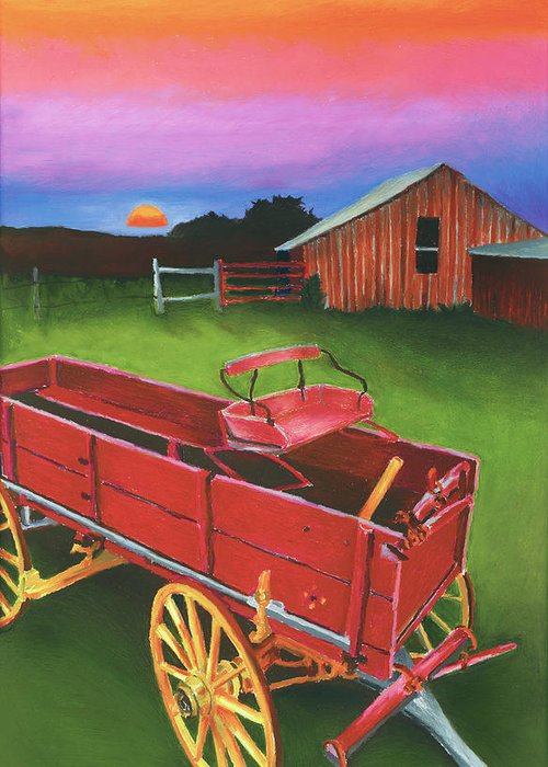 Texas Scenery Greeting Card featuring the painting Red Buckboard Wagon by Stephen Anderson