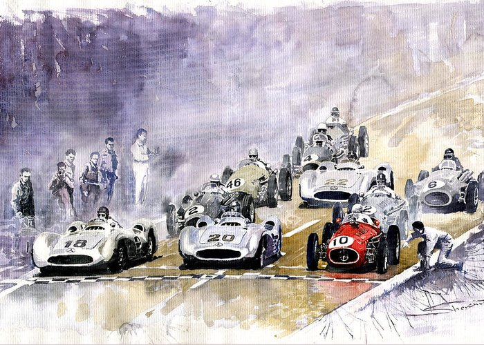 Watercolour Greeting Card featuring the painting Red Car Maserati 250 France Gp by Yuriy Shevchuk