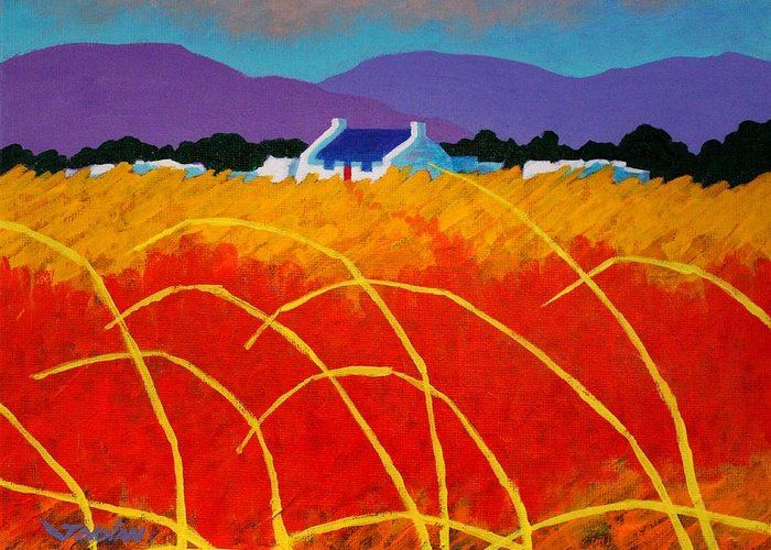 Landscape Greeting Card featuring the painting Red Door by John Nolan