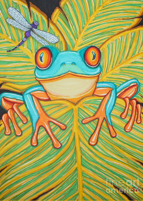 Frog Greeting Card featuring the drawing Red Eyed Tree Frog And Dragonfly by Nick Gustafson