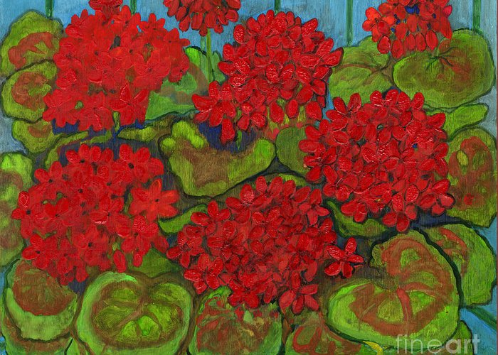 Folkartanna Greeting Card featuring the painting Red Geranium by Anna Folkartanna Maciejewska-Dyba