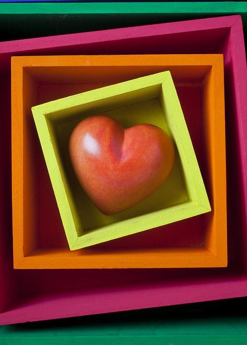 Red Greeting Card featuring the photograph Red Heart In Box by Garry Gay