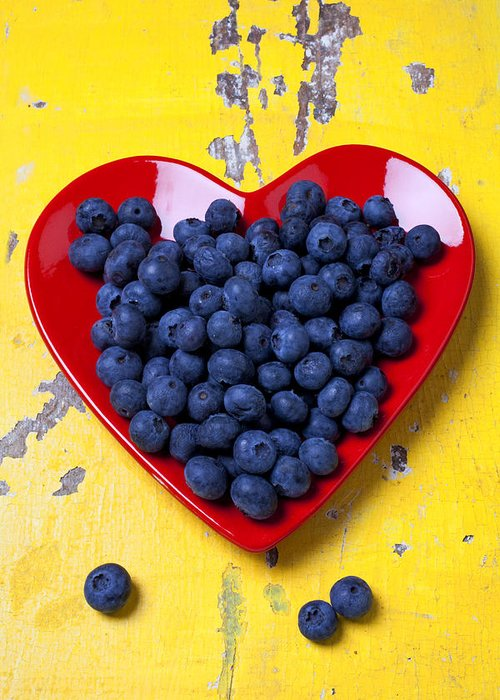 Red Heart Shaped Plate Greeting Card featuring the photograph Red Heart Plate With Blueberries by Garry Gay