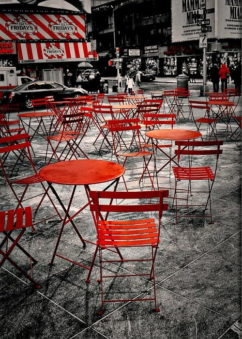 Black Greeting Card featuring the photograph Red In My World - New York City by Angie Tirado
