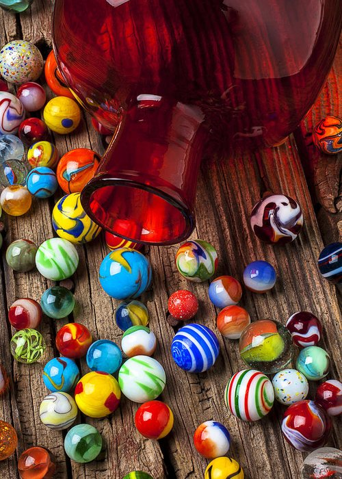 Red Jar Greeting Card featuring the photograph Red Jar With Marbles by Garry Gay