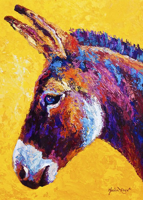 Burro Greeting Card featuring the painting Red Jenny by Marion Rose