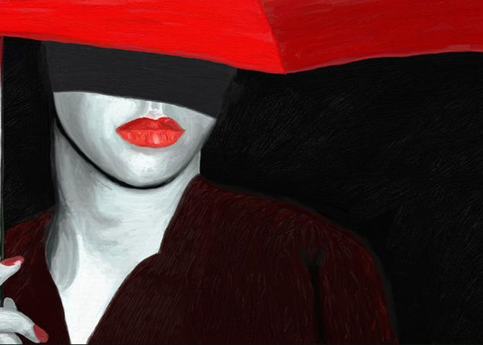 Impressionism Greeting Card featuring the painting Red Lips And Umbrella by James Shepherd