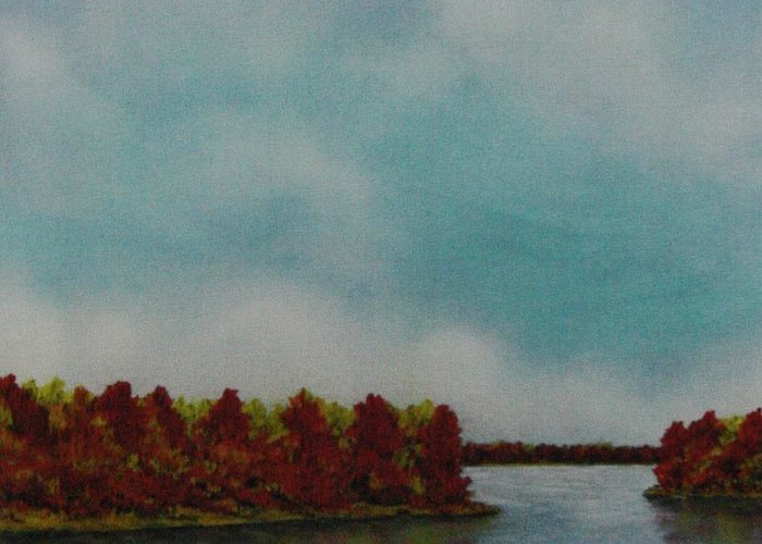 Oak Trees In Fall Colors Greeting Card featuring the pastel Red Oaks On The River by Richard Van Order