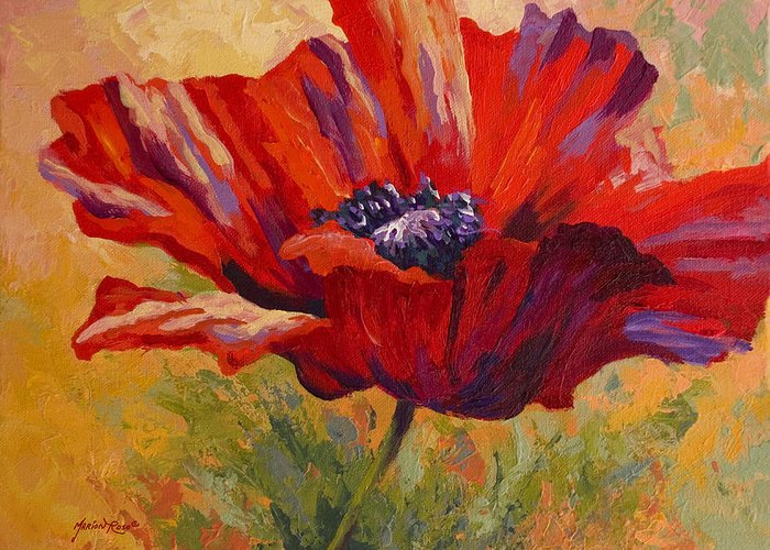 Poppies Greeting Card featuring the painting Red Poppy II by Marion Rose