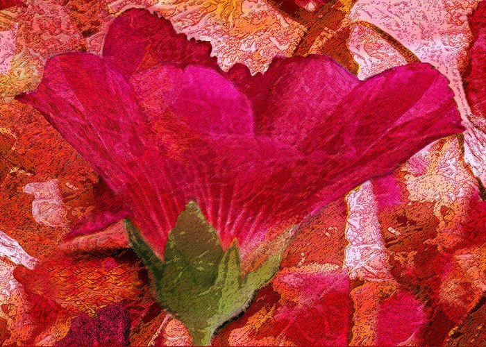 Flower Greeting Card featuring the digital art Red Queen by Tom Romeo