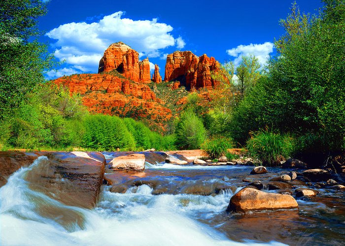 Sedona Greeting Card featuring the photograph Red Rock Crossing by Frank Houck