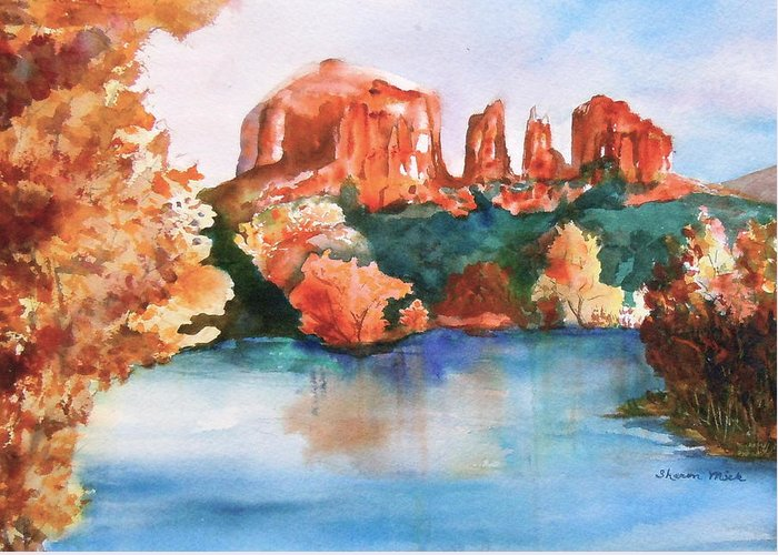 Sharon Mick Greeting Card featuring the painting Red Rock Crossing by Sharon Mick