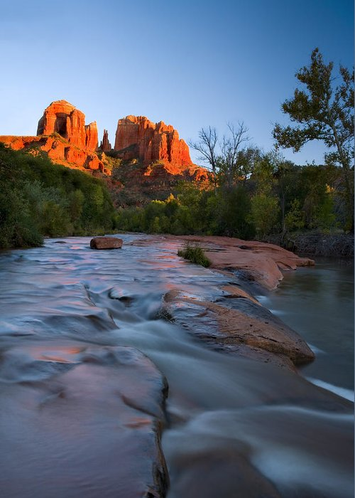 Cathedral Rock Greeting Card featuring the photograph Red Rock Sunset by Mike Dawson