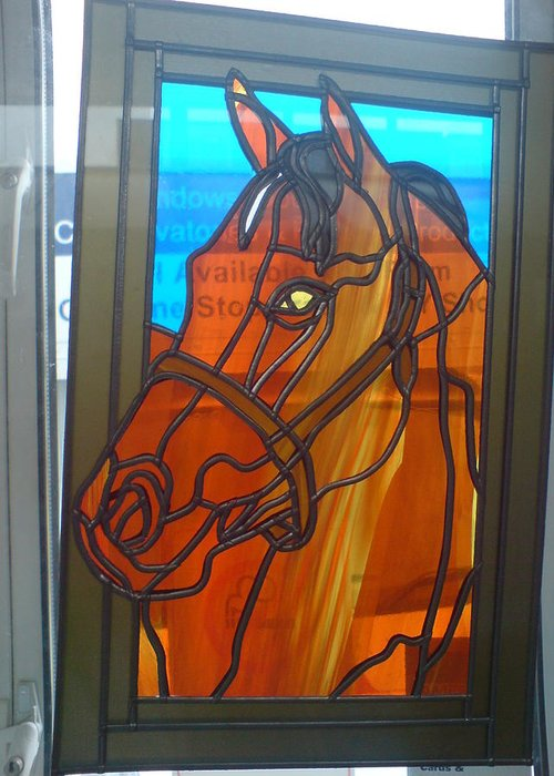 Horse Greeting Card featuring the glass art Red Rum by Robin Jeffcoate