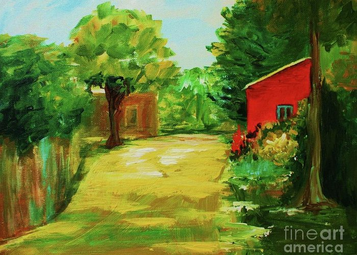 Landscape Greeting Card featuring the painting Red Shed by Julie Lueders