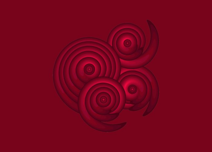 Red Greeting Card featuring the painting Red Spirals by Frank Tschakert