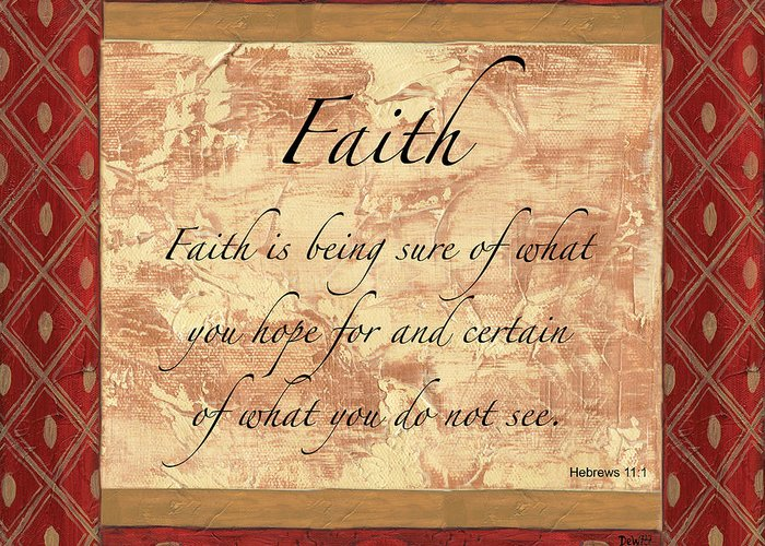 Faith Greeting Card featuring the painting Red Traditional Faith by Debbie DeWitt