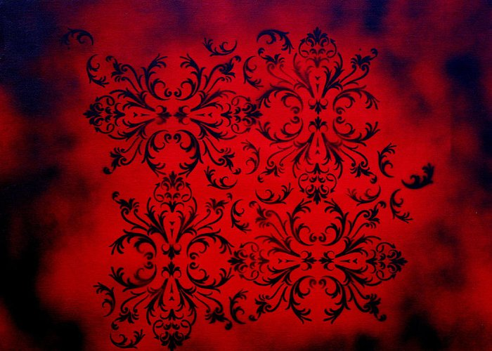 A Bold Greeting Card featuring the painting Red Velvet By Madart by Megan Duncanson