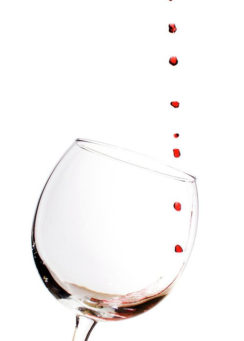 Red Wine Greeting Card featuring the photograph Red Wine Drops Into Wineglass by Dustin K Ryan