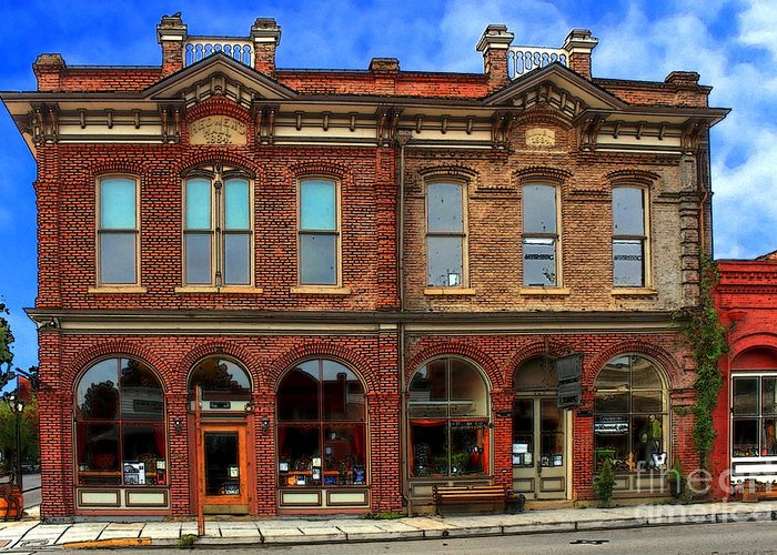 Brick Greeting Card featuring the photograph Redmens Hall - Jacksonville Oregon by James Eddy