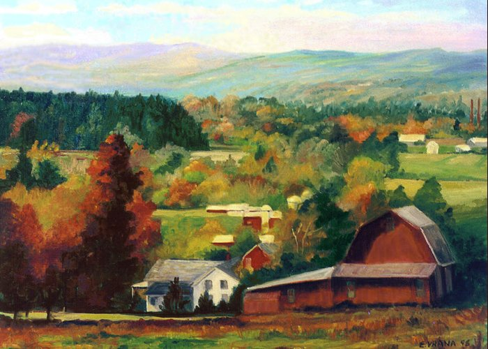 Landscape Greeting Card featuring the painting Reeds Farm Ithaca New York by Ethel Vrana