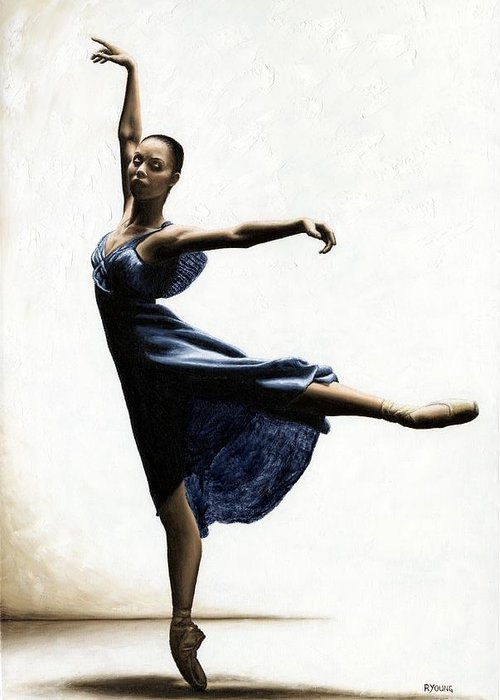Dancer Greeting Card featuring the painting Refined Grace by Richard Young
